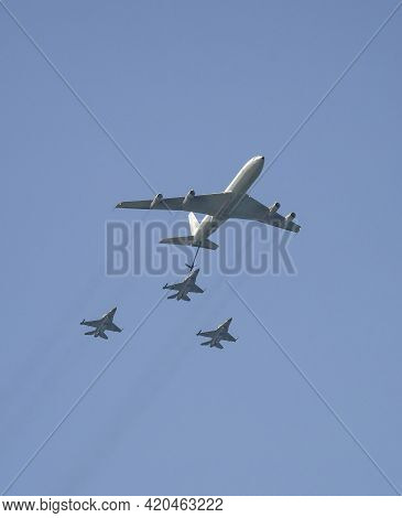Tel Aviv, Israel - April 15th, 2021: A Boeing 707 Refueling Airplane, Refueling An F-16 Fighter, On
