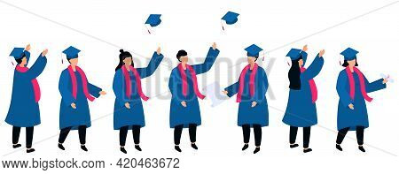 Set Of Isometric Students In Graduation Gowns And Mortarboards Hold Diploma. Class Of 2021.