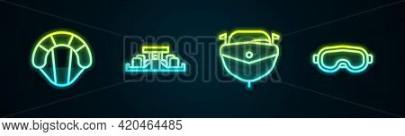 Set Line Parachute, Formula 1 Racing Car, Speedboat And Ski Goggles. Glowing Neon Icon. Vector