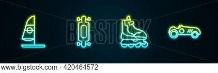 Set Line Windsurfing, Longboard Or Skateboard, Roller And Vintage Sport Racing Car. Glowing Neon Ico