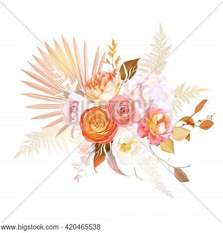 Trendy Dried Palm Leaves, Blush Pink Rose, Orange Ranunculus, White Hydrangea, Pampas Grass