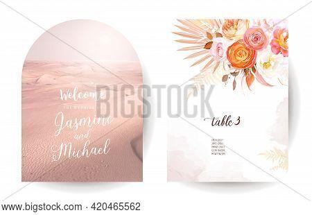 Trendy Dried Palm Leaves, Rose, Orange Ranunculus Vector Wedding Banner. Desert Sands