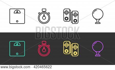 Set Line Bathroom Scales, Stopwatch, Gamepad And Golf Ball On Tee On Black And White. Vector