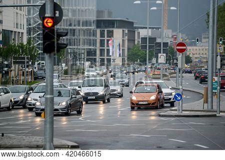 Stuttgart, Germany - 12 May 2016: Crossroads On A Street In Stuttgart. The Red Traffic Light Is On.