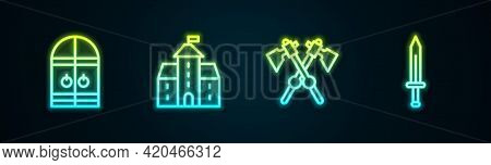 Set Line Medieval Castle Gate, Castle, Fortress, Crossed Medieval Axes And Sword. Glowing Neon Icon.
