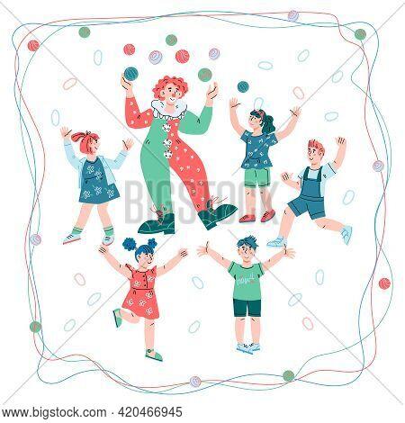 Circus Clown Juggling For Happy Cheerful Children. Kids Circus Entertainment, Cartoon Vector Illustr