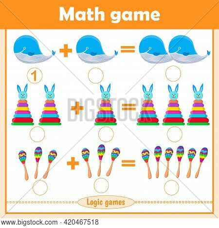 Solve Math Examples For Addition. Educational Game For Kids. Fold Toys: Whale, Pyramid, Maracas