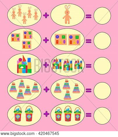 Solve Math Examples For Addition. Fold Different Toys. Educational Game For Kids. Colorful Toys