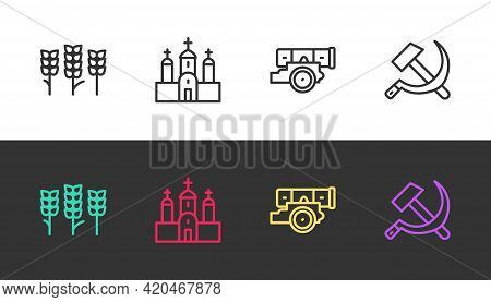 Set Line Wheat, Church Building, Cannon And Hammer And Sickle Ussr On Black And White. Vector