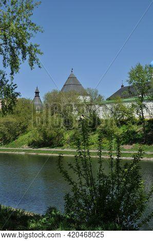 Panoramic View Of The Monastery Pond And The Monastery. Novospassky Monastery. May 11, 2021, Moscow,
