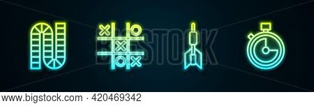 Set Line Board Game, Tic Tac Toe, Dart Arrow And Stopwatch. Glowing Neon Icon. Vector