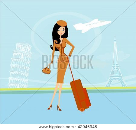 beautiful women on air port travelling in France and Italy