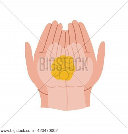 The Hands Of An Adult And A Child Hold Coins. Family Budget And Childrens Budget. An Adult Helps A C