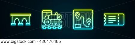 Set Line Bridge For Train, Vintage Locomotive, Route Location And Train Ticket. Glowing Neon Icon. V