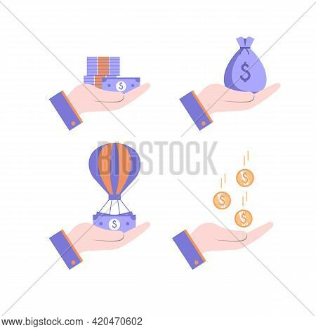 Human Hands That Hold Falling Coins, A Bag Of Money, Bills And Banknotes. Set Of Vector Illustration