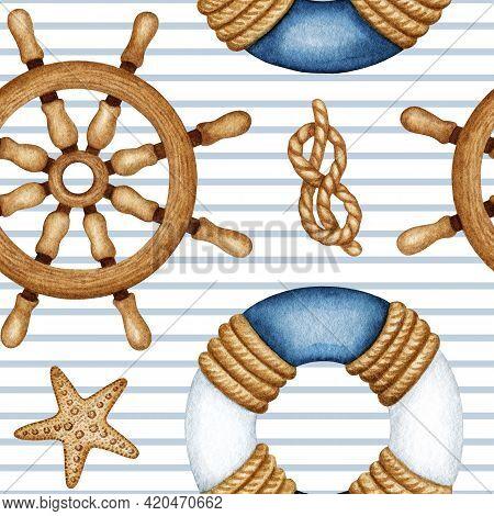 Watercolor Nautical Vessel Equipment, Traveling, Sea Life Marine Seamless Pattern. Ship Navigation.