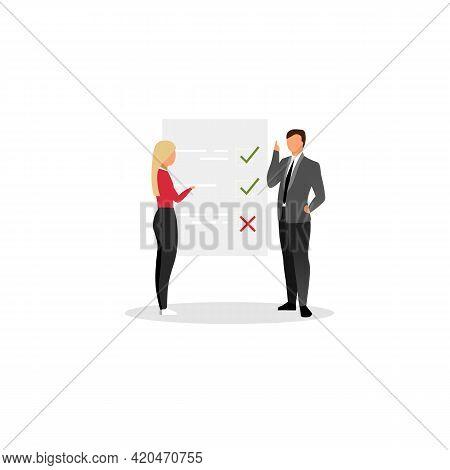 Project Manager Planning Tasks Flat Vector Illustration. Businessman, Entrepreneur And Personal Assi