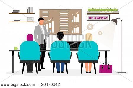 Job Search Interview Flat Vector Illustration. Hr Agency Specialist Meeting With Candidates. Recruit