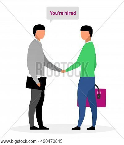 Hiring New Worker Flat Vector Illustration. Boss, Chief Shaking Hand With Successful Applicant Carto