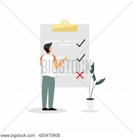 Man, Entrepreneur At Checklist Flat Vector Illustration. To Do List, Tasklist Isolated Cartoon Chara