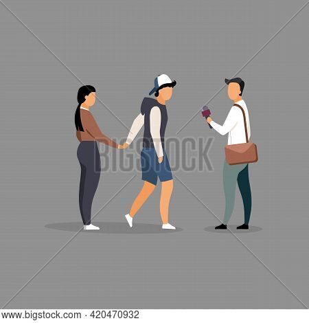 Journalist Interviewing Young Couple On Street Flat Illustration. Journalist With Microphone Cartoon