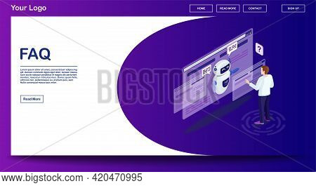 Faq Webpage Vector Template With Isometric Illustration. Website Interface Design. Customer Service