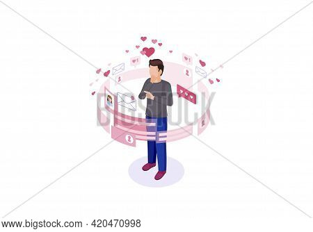 Online Chatting Isometric Color Vector Illustration. Male Getting Message Infographic. Persons Socia
