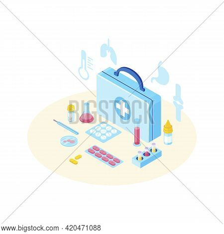 First Aid Kit With Medicine Isometric Illustration. Treatment For Lungs, Stomach, Bones Diseases, Il