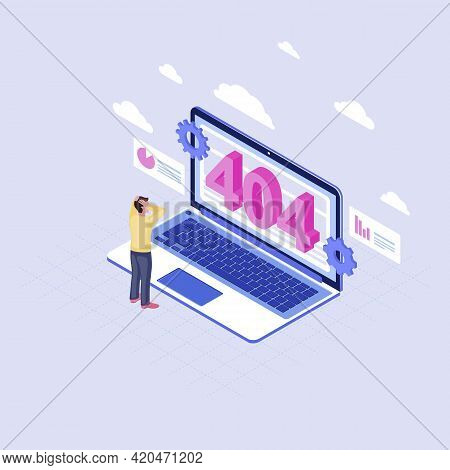User Shocked At 404 Problem Isometric Illustration. Man Watching Page Not Found Message On Laptop Di