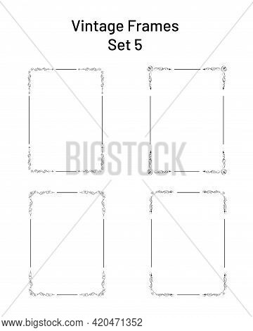 Set Of Four Unique Frames With Flourishes, Collection Of Ornate Rectangular Templates. Hand Drawn Co