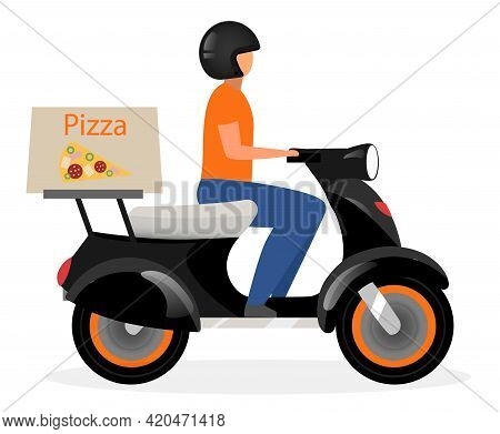 Pizza Delivery Flat Vector Illustration. Man Driving Scooter With Food Parcel Cartoon Character Isol