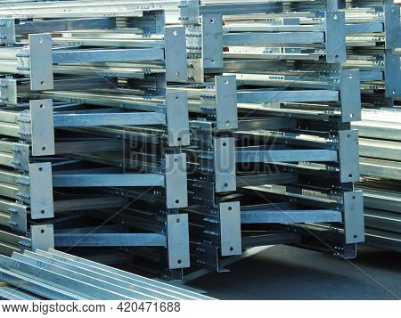 Galvanized Steel Structures In Stacks Are Ready For Shipment To The Customer