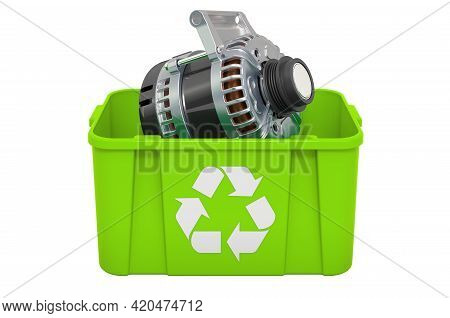 Recycling Trashcan With Starter, 3d Rendering Isolated On White Background