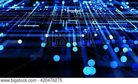 3d Render. Glowing Particles. Abstract Background As Technological Concept With Many Blue Lines And