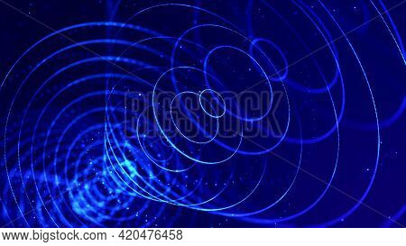 3d Render. Abstract Sci-fi Bg With Glow Particles Form Curved Lines, Surfaces, Hologram Structures O