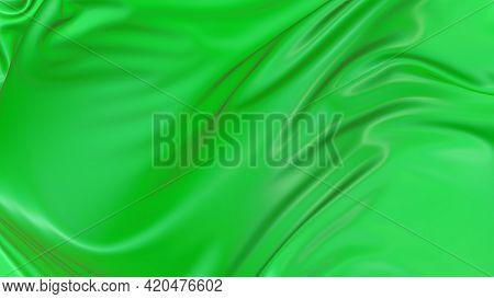 3d Render Beautiful Folds Of Light Green Silk In Full Screen, Like A Beautiful Clean Fabric Backgrou