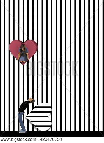 A Girl Looks Out From A Heart Shaped Opening In A Wall To See Below Is A Boy Looking Up At Her In Th