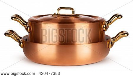 Copper Cookware Set Isolated On White Background
