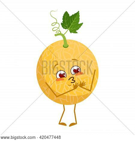 Cute Melon Character Falls In Love With Eyes Hearts, Face, Arms And Legs. The Funny Or Smile Emotion