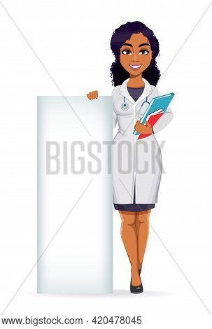 Medicine And Pandemic Concept. African American Female Doctor Wearing White Coat With Stethoscope. A
