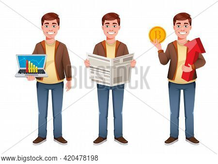 Handsome Business Man Cartoon Character, Set Of Three Poses. Young Businessman. Stock Vector Illustr