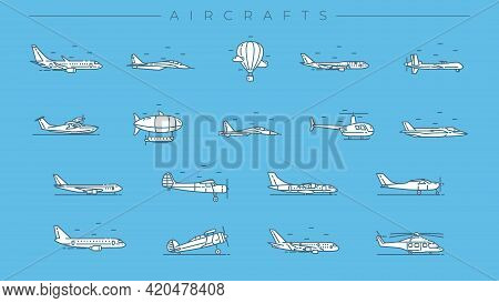 Aircrafts Concept Line Style Vector Icons Set.