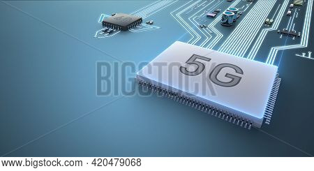 Abstract Illustration Of 5g And 4g Processors Competing With Each Other. Ahead Is A Processor With 5