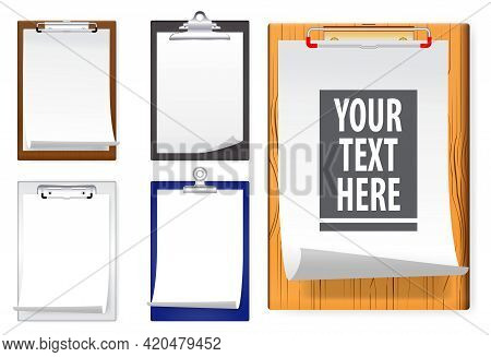Set Of Realistic Clipboards With White Paper Of Notepad Information Clipboard Mock Up Or White Sheet