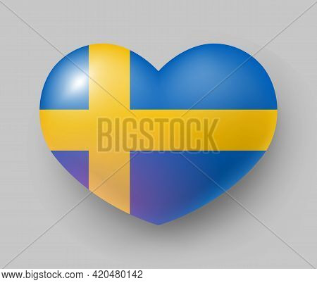 Heart Shaped Glossy National Flag Of Sweden. European Country National Flag Button, Swedish Symbol I