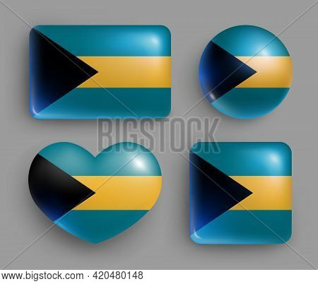 Set Of Glossy Buttons With Bahamas Country Flag. America Country National Flag, Shiny Geometric Shap