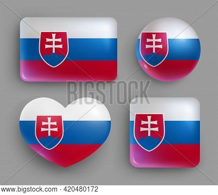 Glossy Buttons With Slovakia Country Flags Set. European Country National Flag Shiny Badges Of Diffe