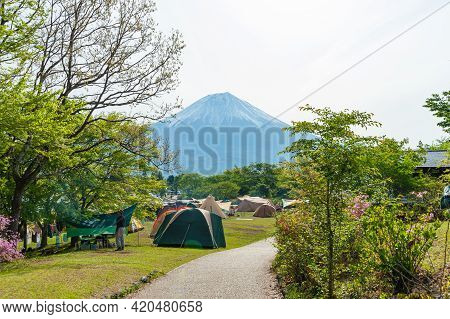 Fujinomya City, Shizuoka-ken, Japan - November 23, 2020: Camping Tents In Fuji-hakone-izu National P