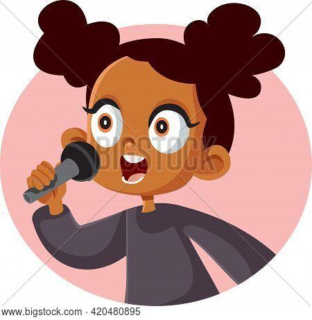 Cute African Girl Singing Vector Illustration Cartoon