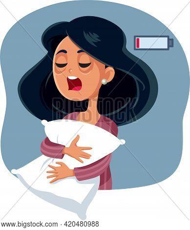 Yawning Tired Woman Having No Energy Vector Illustration